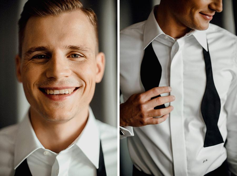 Portret pana młodego w dniu przygotowań do ślubu i wesela