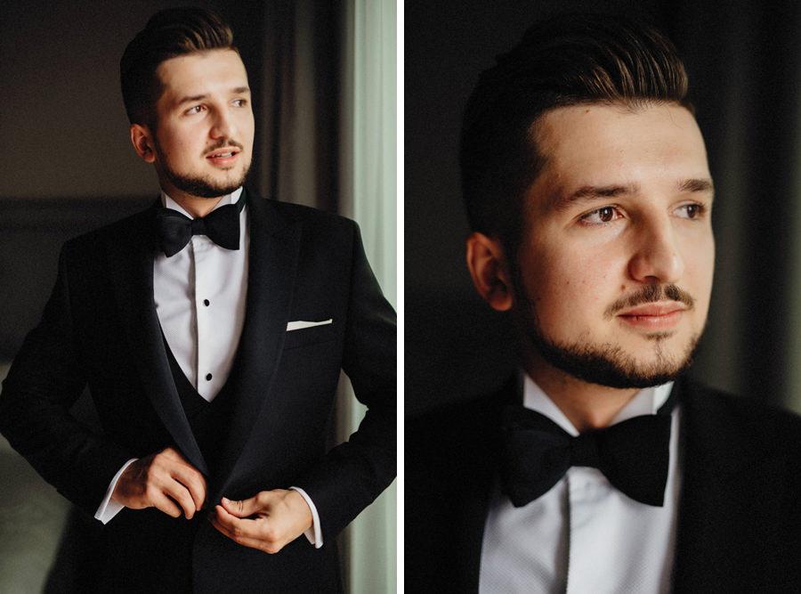 portret pana młodego w dniu ceremonii ślubnej w Bieszczadach