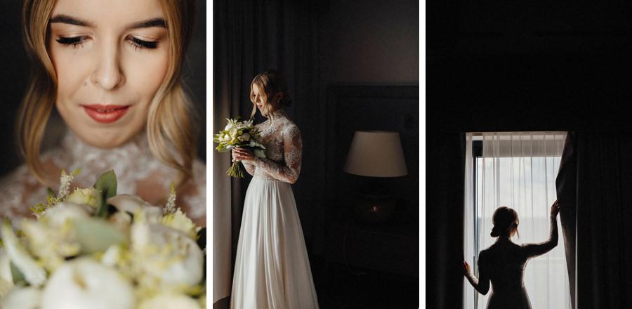 portret panny młodej w dniu ceremonii ślubnej w bieszczadach